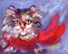 Meow's New Muffler by Pamela Gatens Acrylic ~ 10 x 8