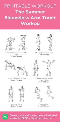 The Summer Sleeveless Arm Toner Workou: my visual workout created at WorkoutLabs.com • Click through to customize and download as a FREE PDF! #customworkout