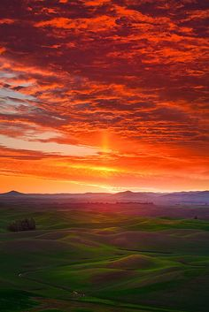 Craziest Sunrise In The Palouse by Kevin McNeal on Flickr. The Palouse is a region of the northwestern United States, encompassing parts of southeastern Washington and north central Idaho.