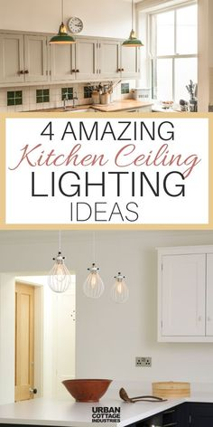 We're sharing 4 amazing kitchen lights ideas that you should definitely try in your own home kitchen. Lights are an important part of any kitchen design, so check this out! Unique Lighting, Home Lighting, Lighting Ideas, Ceiling Lighting, Dining Room Lighting, Kitchen Lighting, Urban Cottage Industries, Dado Rail, Kitchen Ceiling Lights