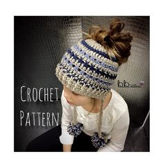 Messy Bun Beanie with Tassels - PATTERN ONLY- Crochet - Size Toddler, Child, Adult