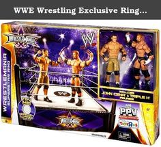 "WWE Wrestling Exclusive Ring Playset WrestleMania XXX Superstar Ring [Includes John Cena & Triple H!]. WWE Wrestlemania 30 Superstar Ring with John Cena & Triple H Figures Bring home the action of the WWE! Recreate your favorite matches with two approximately 6-inch figures in ""Superstar scale"" plus a WrestleMania-themed ring with authentic detailing for big event battle fun. Figures can pose in their iconic stances and feature amazing likeness, signature ring attire and Superstar…"