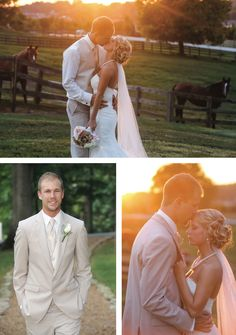 Amazing sunset wedding portraits. View more from this shabby-chic Smoky Mountain wedding outdoors with sky blue and pink details at Barn Event Center of the Smokies! Bridal shop @whitelaceb, formalwear via @regaltuxedoknox, pics by Lauren Blankenship Photography | The Pink Bride® www.thepinkbride.com