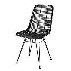 Chaise en rotin et métal noire Pitaya