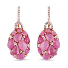 Cabochon-cut pink sapphires and round white diamonds. Set in 18-karat rose gold. Miadora collection. (price: 4929.99)