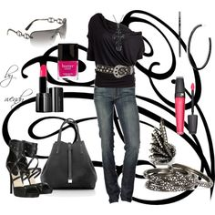 Tiffany bag, draped T-shirt, awesome Jimmy Choo shoes, jeans, belt and ring. I'm in love, created by wendyfer on Polyvore