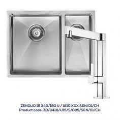 ZENDUO 15 340/180U 1.5 Bowl Sink with 1810XXX Chrome Kitchen Tap