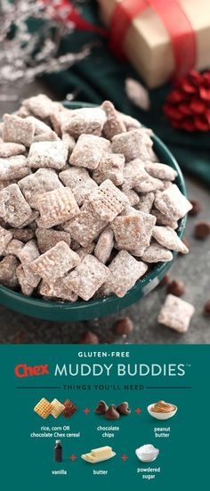 Gluten-Free Muddy Buddies are the sweetest treat for everyone during the holidays! Packed with peanut butter and chocolate flavor, these sweet bites keep your guests happy and you out of the kitchen. In just 15 minutes, homemade Gluten-Free Muddy Buddies are your holiday party in the making.