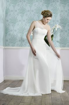 Ruth - silk gown with one shoulder silk tulle detail, and detachable silk tulle train - by Madeline Isaac-James.