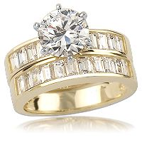 Cynthia Cubic Zirconia Engagement Ring with Baguettes