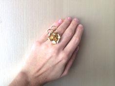 Repurposed Vintage Gold Amber Pearl Rhinestone by ZiLLAsQuEeN, $20.00