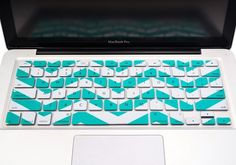 "Chevron Series Soft Aqua n White Silicone Keyboard Cover for Macbook 13"" 15"" 17"""
