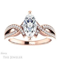 14k Rose Gold Marquise Cut Engagement Ring Setting #GTJ1127-marquise-r 1