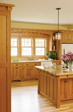 Craftsman kitchen cabinets - CrownPoint Cabinetry...love the craftsman feel, just replace the sink with an apron sink and it would be perfect!