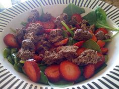 Beef & Strawberries on Spinach
