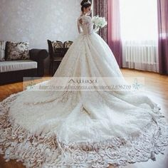 Famoso Designer de vestidos de noiva outono de manga comprida vestido de baile romântico real vestidos de noiva com longa YY364 em Vestidos de noiva de Casamentos e Eventos no AliExpress.com | Alibaba Group