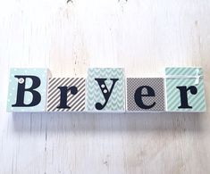 Navy and Grey Handmade in the USA by Page Brook Market Personalized Wooden Name Puzzle Gift for One or Two Year Old Boy Mint