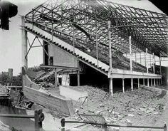 The Boleyn Ground Upton Park (West Ham United) damaged by a German V1 Flying Bomb. London, 1944.