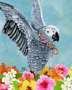 African parrot illustration art by Jennifer Lambein via www.Facebook.com/JenniferLambeinStudioPetite