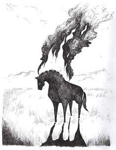 """""""Etsi päivän, etsi toisen, niin päivänä kolmantena nousi suurelle mäelle, kiipesi kiven selälle; iski silmänsä itähän, käänti päätä päivän alle: näki hiekalla hevosen, kuloharkan kuusikolla; senpä tukka tulta tuiski, harja suihkivi savua."""""""