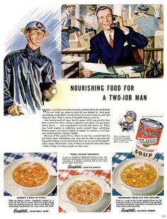 "Campbell's Soup Ad, ""Nourishing food for a two-job man,"" 1943"