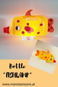 Cute fish lamp made out of a detergent bottle Paper Crafts For Kids, Diy For Kids, Fish Lamp, Detergent Bottles, Lampshade Designs, Cute Fish, Pinterest Diy, Recycled Crafts, Bottle Crafts