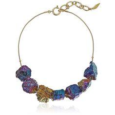 "Diane von Furstenberg ""Rainbow Rocks"" Rainbow Quartz Stone Frontal... ($122) ❤ liked on Polyvore featuring jewelry, necklaces, rainbow quartz jewelry, chain necklace, rock necklace, quartz jewelry and diane von furstenberg"