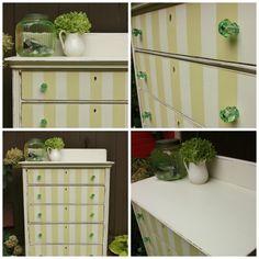 pear green striped dresser.