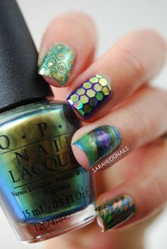 OPI: Just Spotted The Lizard OPI: Suzi Loves Cowboys OPI: Austen-tatious Turquoise OPI: Green-wich Village OPI: A Woman's Prague-ative OPI: Tomorrow Never Dies Essie: Go Overboard Born Pretty Store: Circle Glequins Bundle Monster Stamp Plate: BM-212 Martha Stewart Hex Glitters: Olivine & Lapis Lazuli