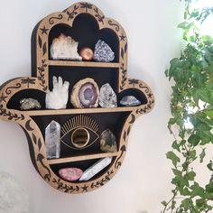 Hamsa Hand, Hand of Fatima wooden crystal shelf