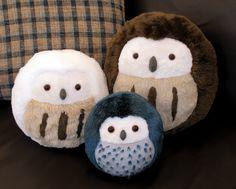 Plush Owls - All three sizes by *demiveemon on deviantART