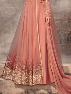 Discover thousands of images about Dark Peach Designer Embroidered Net Wedding Anarkali Suit Indian Wedding Gowns, Indian Gowns Dresses, Indian Fashion Dresses, Indian Designer Outfits, Pakistani Dresses, Indian Outfits, Net Dresses, Dress Fashion, Wedding Dresses