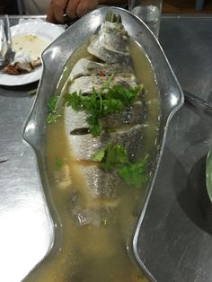 Fish steamed in Thai sauce in Bkk