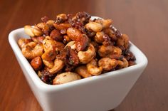 Mixed nuts with cinnamon, honey, and cayenne pepper. #recipe #fall