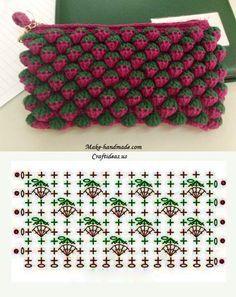 """Point de Crochet """"Strawberry"""" - Tutorials - Crochet et plus.Crochet et plus… Crochet Diy, Crochet Pouch, Crochet Motifs, Crochet Diagram, Crochet Stitches Patterns, Crochet Chart, Love Crochet, Crochet Flowers, Crochet Bags"""