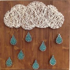 Clouds and rain String Art by JilliansGifts