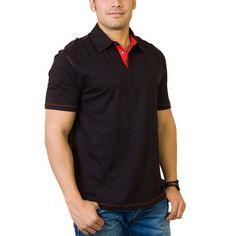 071078e8 Steven Craig Men's Golf Shirt w/ Contrast Trim: Black / Red - XL Timeless