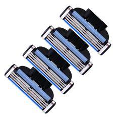 4 unids/lote 3 Capas de Los Hombres de Afeitar de Repuesto Jefes Máquina de Afeitar Cuchillas de Acero Inoxidable Para La Venta