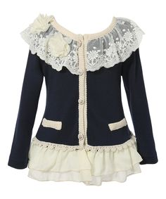 Loving this Richie House Navy Lace Ruffle Cardigan - Toddler & Girls on #zulily! #zulilyfinds