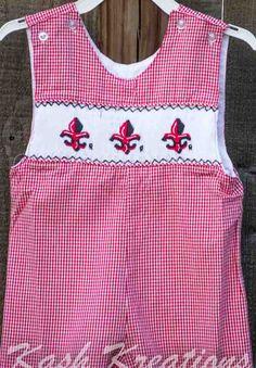 Ragin Cajuns Fleur De Lis Smocked Longall Red Gingham: Kash Kreations: Lafayette, LA - Childrens & Baby Clothing & More