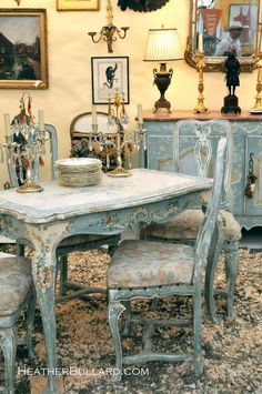 pretty pale blue furniture pieces.