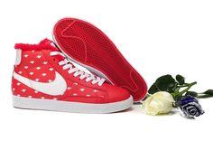 Soldes Chaussures Nike Blazer Milieu Cuir Printed Fur Fille Femme University Rouge Blanc Love-31