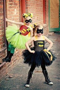 Superhero Party ~ adorable but fierce Batman & Robin costumes for girls. Made by SophiasCoutureDesigns