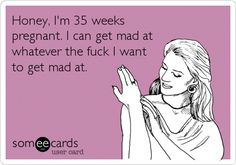 Free and Funny News Ecard: Honey, I'm 35 weeks pregnant. I can get mad at whatever the fuck I want to get mad at. Create and send your own custom News ecard. Pregnancy Memes, Happy Pregnancy, Pregnancy Test, Pregnancy Belly, Pregnancy Vitamins, Pregnancy Acne, Pregnancy Videos, Pregnancy Calendar, Frases