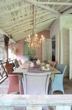 Caribbean Cool - love the different colored wicker chairs in the softer tones
