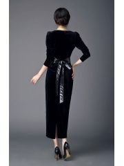 Women's Vintage Slim Package Hip Lacing Bow Velvet Ankle-length Full-sleeve Black Maxi Dress