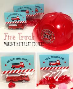 Fire Truck Valentine's treat toppers. Fill with fiery goodies or firemen related toys.