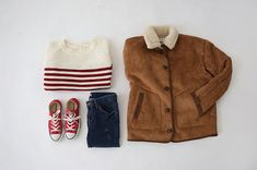 Coolest ouftit: jeans, red converse, striped tee and jacket