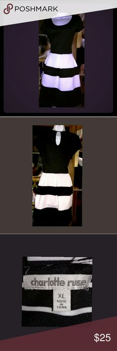 """Ladies dress Ladies dress..solid black upper..with black/white soft pleated skirting great 4 work.. luncheons..parent teacher day..or just a fun day at the mall..excellent condition!..Sz XL measurements: SH2SH14.5"""" P2P 18"""" W 16""""  L 37"""" W2Hem 20"""" Charlotte Russe Dresses"""