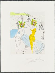 Salvador Dalí - Femme-Fleurs Au Piano | From a unique collection of figurative prints at http://www.1stdibs.com/art/prints-works-on-paper/figurative-prints-works-on-paper/